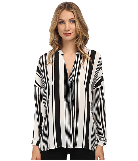 Christin Michaels - Striped Print Tunic (White/Black) Women's Blouse