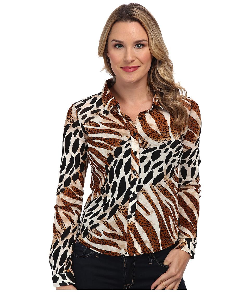 Christin Michaels - Animal Print Shirt (Brown) Women