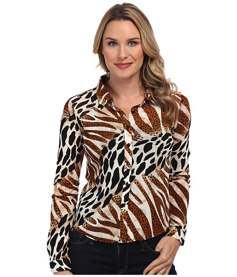 Christin Michaels - Animal Print Shirt (Brown) Women's Clothing