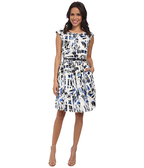 Adrianna Papell - Pintuck-Front Dress (Black/Blue) Women's Dress