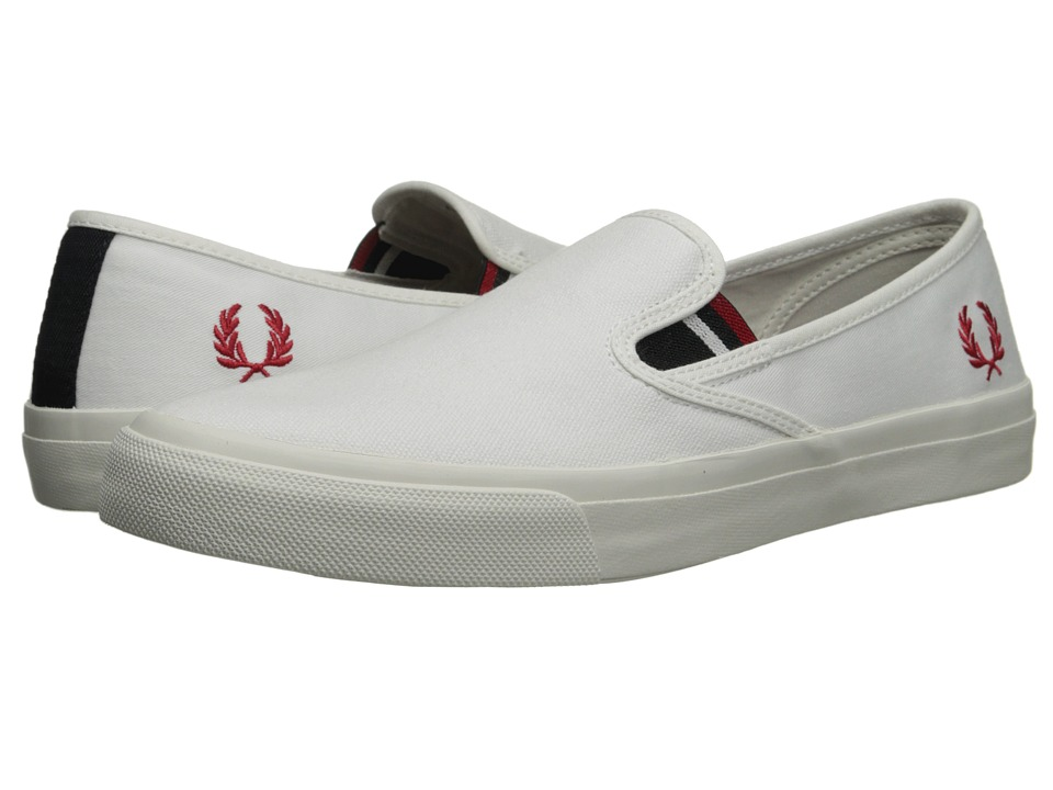 Fred Perry - Turner Slip-On Canvas (White) Men's Flat Shoes