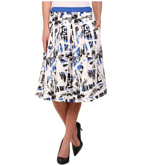 Adrianna Papell - Double Pleated Full Skirt (Black/Blue) Women's Skirt