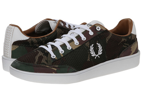 Fred Perry - Hopman Camo Mesh (British Olive) Men's Shoes
