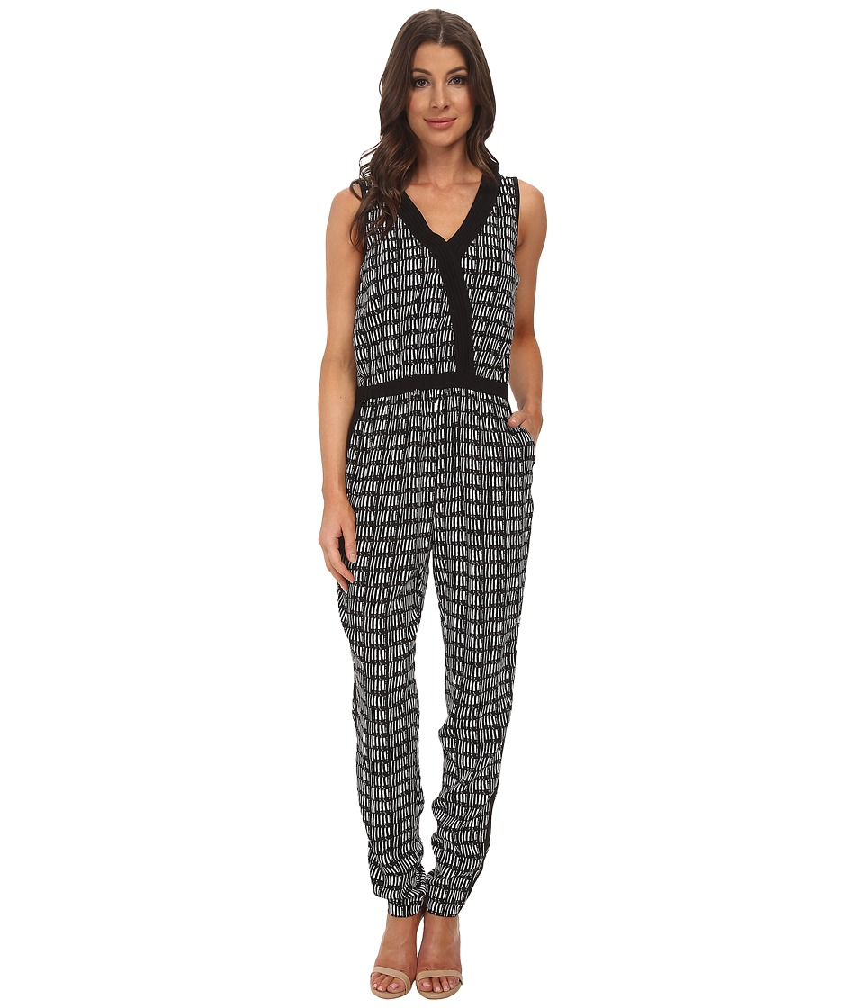 Adrianna Papell - Cross-Over Jumpsuit w/ Solid (Ivory/Black) Women's Jumpsuit & Rompers One Piece