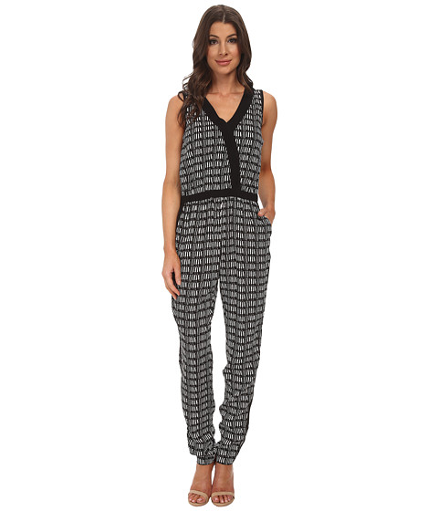 Adrianna Papell - Cross-Over Jumpsuit w/ Solid (Ivory/Black) Women