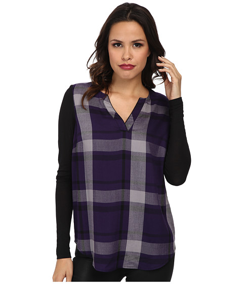 kensie - Yarn Dyed Plaid Top (Midnight Violet Combo) Women's Blouse