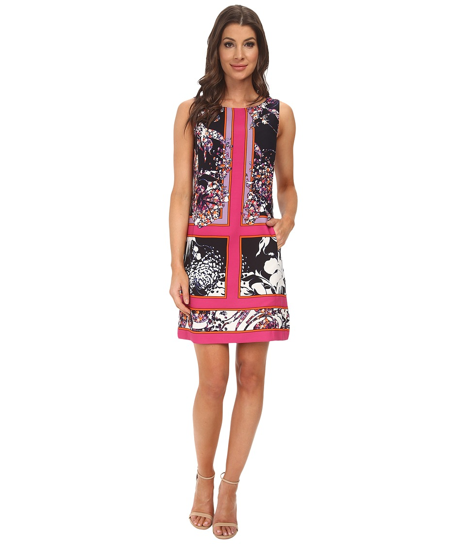 Adrianna Papell - Placement Print A-Line Dress (Pink Multi) Women