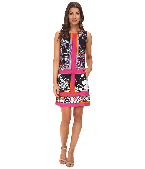 Adrianna Papell - Placement Print A-Line Dress (Pink Multi) Women's Dress