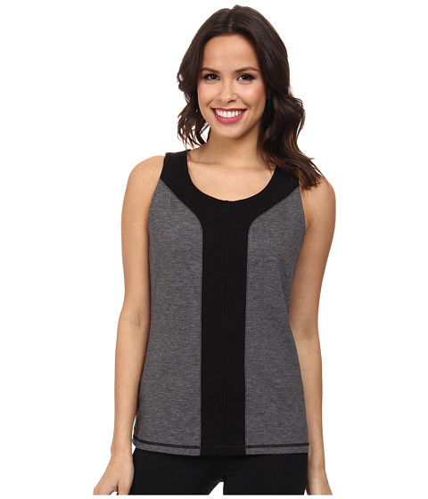 NYDJ - City/Sport Seamed Trainer Tank w/ Shelf Bra (Dark Heathered Grey) Women