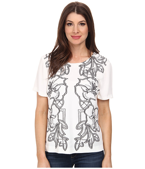 Adrianna Papell - Embroidered Woven T-Shirt (Ivory) Women's T Shirt