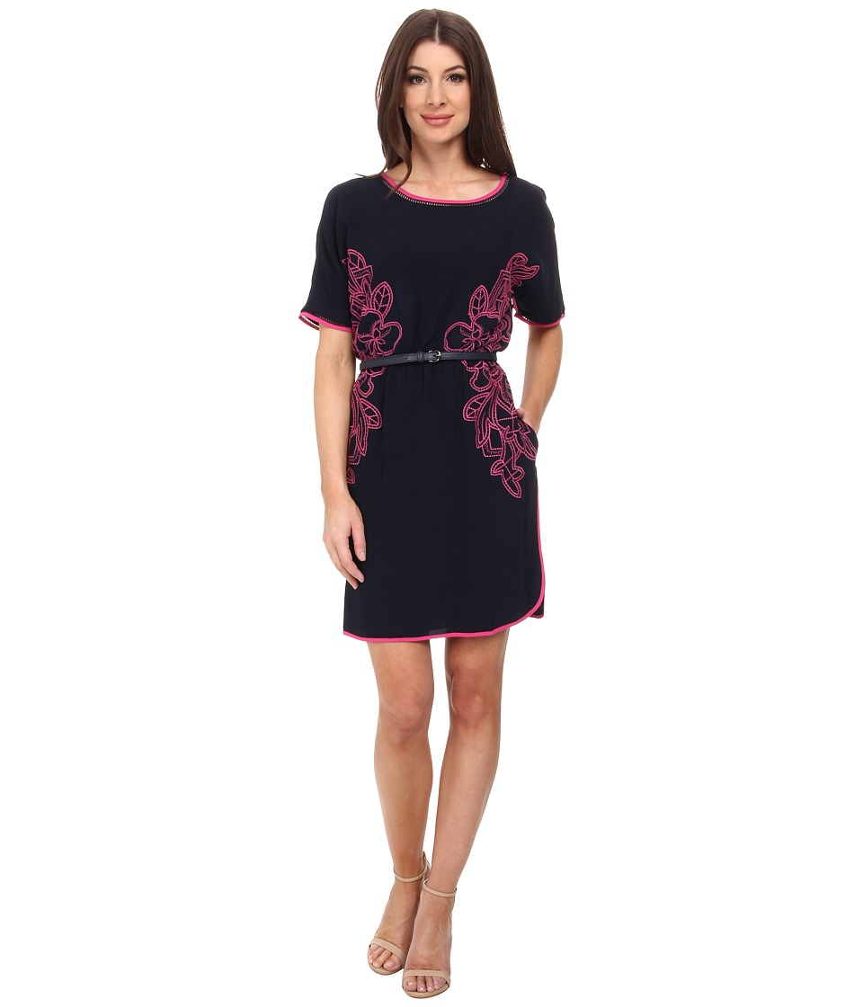 Adrianna Papell - Embroidered Crepe Shift Dress w/ Belt (Blue Moon) Women