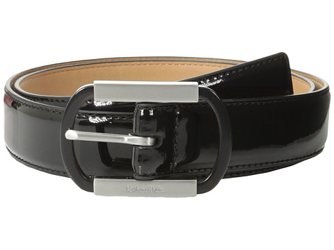 Calvin Klein - 30mm Stitched Feather Edge Patent Strap (Black) Women's Belts