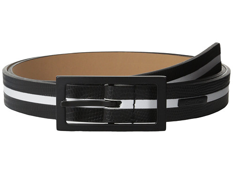 Calvin Klein - 26mm Flat Strap Embossed Lizard w/ Smooth Inlay (Black/White) Women