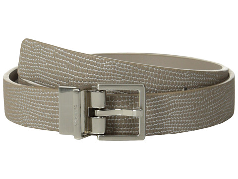 Calvin Klein - 25mm Reversible Flat Strap Embossed Lizard w/ Metallic (Grey) Women's Belts