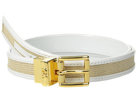 Cole Haan - 20mm Washed Linen Canvas w/ Patent Trim (Optic White) Women's Belts