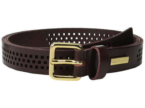 Cole Haan - 25mm Oil Vachetta Panel (Burnt Henna) Women's Belts
