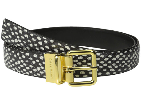 Cole Haan - 25mm Dotted Snake Panel Reverse to Silk Calf (Black) Women's Belts