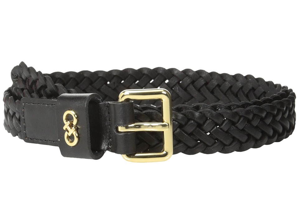 Cole Haan - 25mm Braid Panel w/ Logo Plaque on Loop (Black) Women's Belts