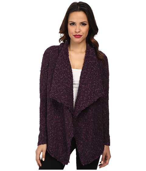 kensie - Chubby Tweed Boucle Cardigan (Mauve Gem Combo) Women