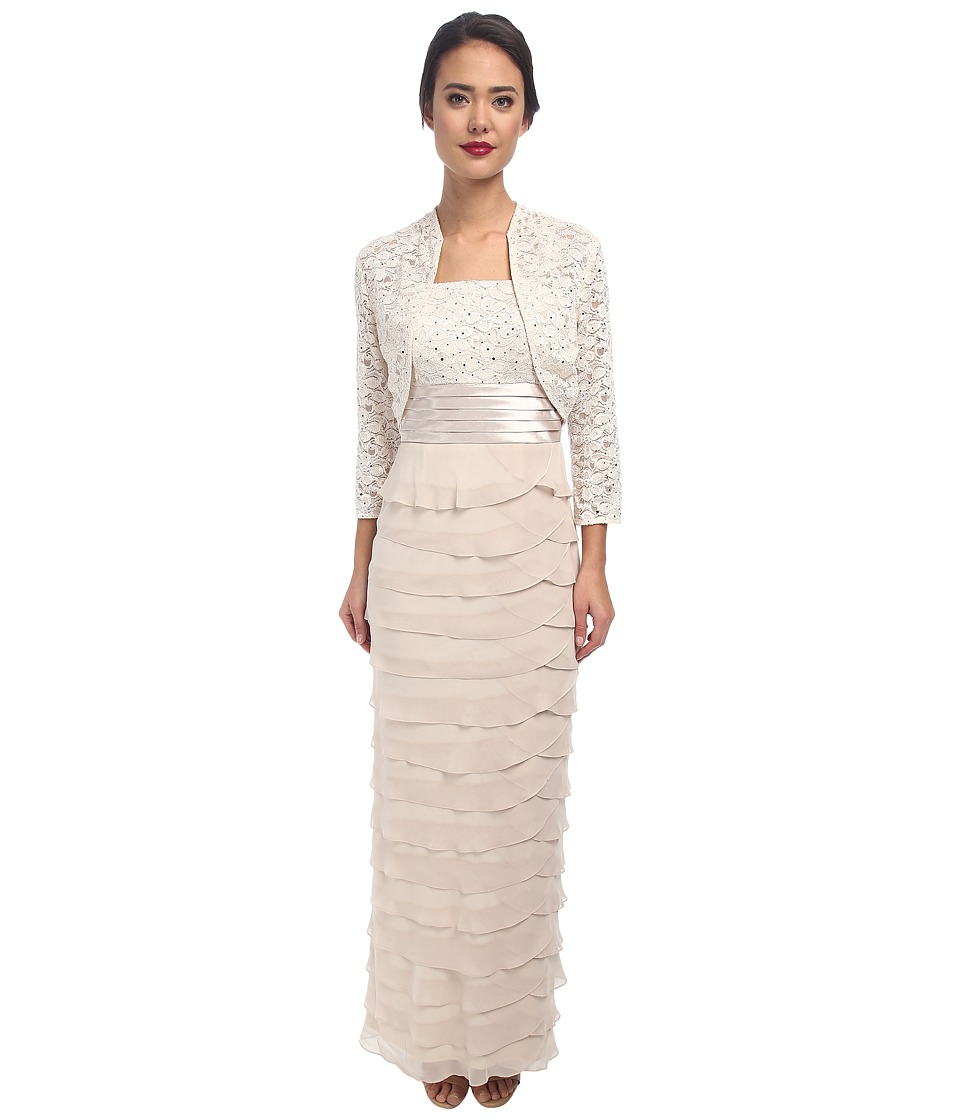Jessica Howard - Bolero Jacket/Sleeve Ruched Waist Dress with Long Artichoke Skirt (Champagne) Women