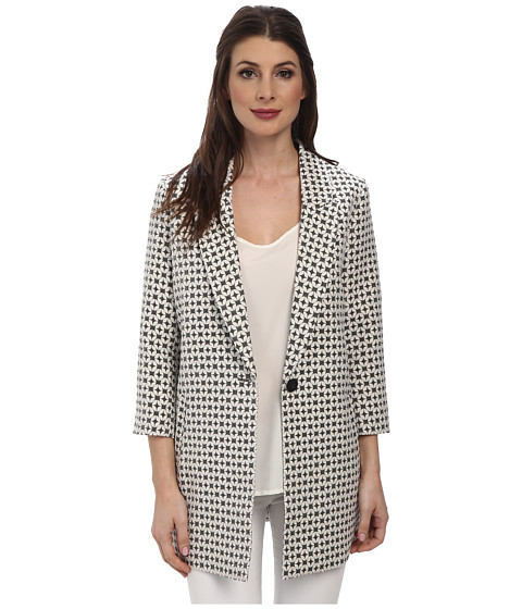NYDJ - Geo Jaquard Topper (Black/White) Women's Coat