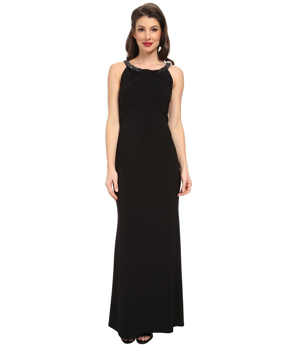 Laundry by Shelli Segal - Front Shirred Matte Jersey Gown (Black) Women's Dress