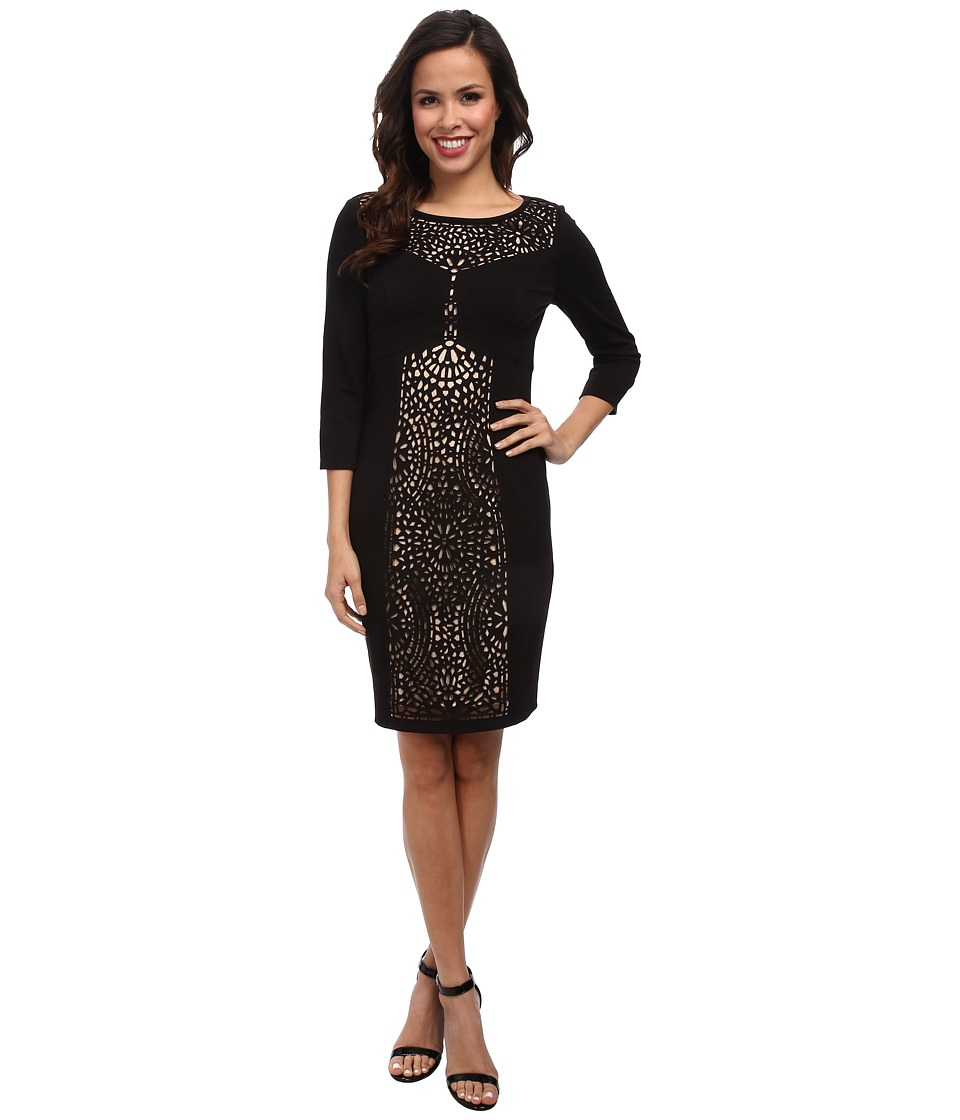 Laundry by Shelli Segal - 3/4 Sleeve Ponte Dress w/ Laser Cut (Black) Women