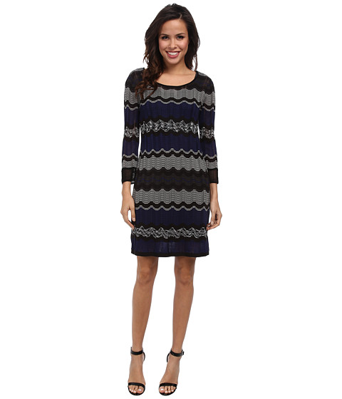Laundry by Shelli Segal - 3/4 Sleeve A-Line Sweater Dress (Blue Beret Multi) Women