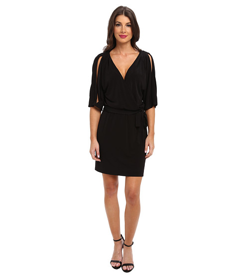 Jessica Simpson - Dolman Wrap Dress w/ a Self Tie (Black) Women's Dress