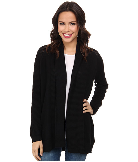 NYDJ - Draped Front Mesh Cardigan (Black) Women's Sweater