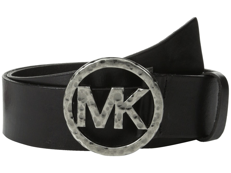 MICHAEL Michael Kors - 40mm Leather Panel On Hammered Plaque Buckle (Black) Women's Belts