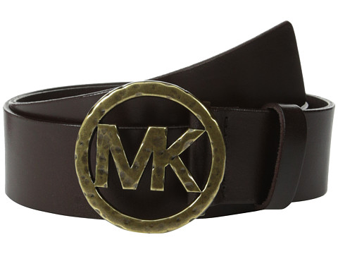 MICHAEL Michael Kors - 40mm Leather Panel On Hammered Plaque Buckle (Brown) Women's Belts
