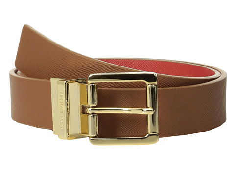 MICHAEL Michael Kors - 32mm Reversible Saffiano To Saffiano On Logo (Mandarin/Luggage) Women's Belts