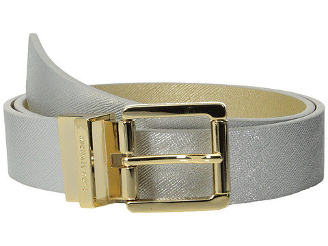 MICHAEL Michael Kors - 32mm Reversible Saffiano To Saffiano On Logo (Silver/Gold) Women's Belts