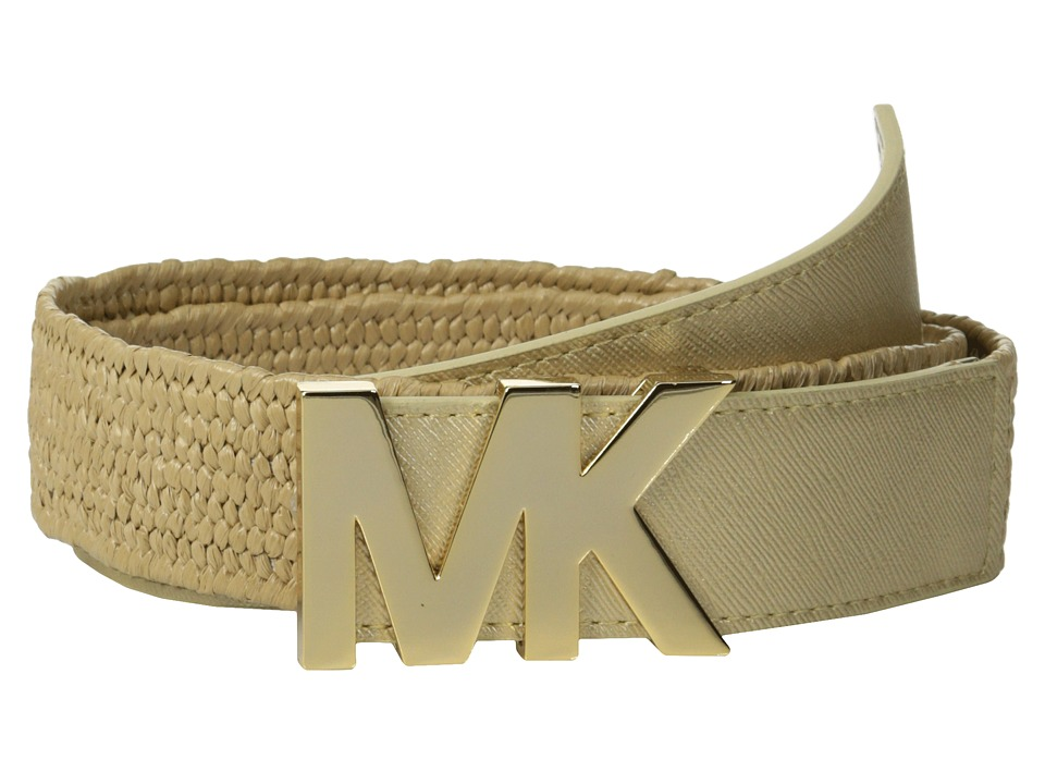 MICHAEL Michael Kors - 38mm Stretch Straw Panel w/ Saffiano Tabs and Logo (Gold) Women's Belts