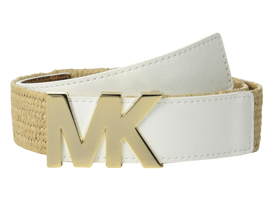 MICHAEL Michael Kors - 38mm Stretch Straw Panel w/ Saffiano Tabs and Logo (White) Women
