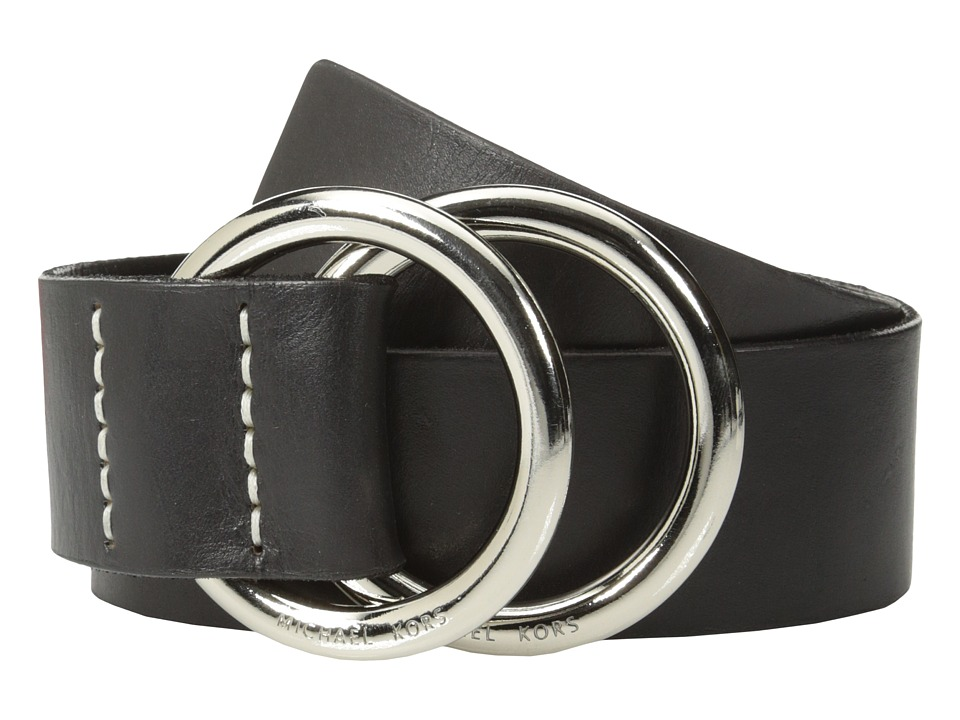 MICHAEL Michael Kors - 50mm Leather Panel Double D Ring Closure (Black) Women