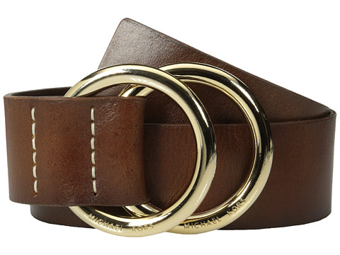 MICHAEL Michael Kors - 50mm Leather Panel Double D Ring Closure (Luggage) Women's Belts