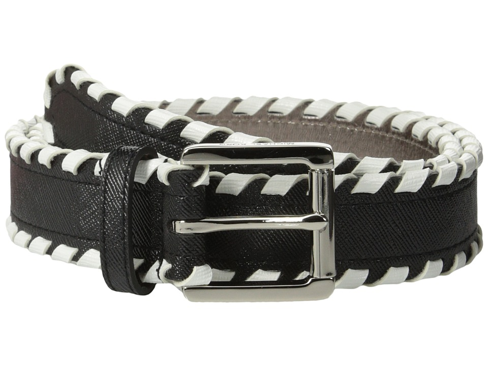 MICHAEL Michael Kors - 32mm Saffiano Belt w/ Whipstitch (Black White) Women