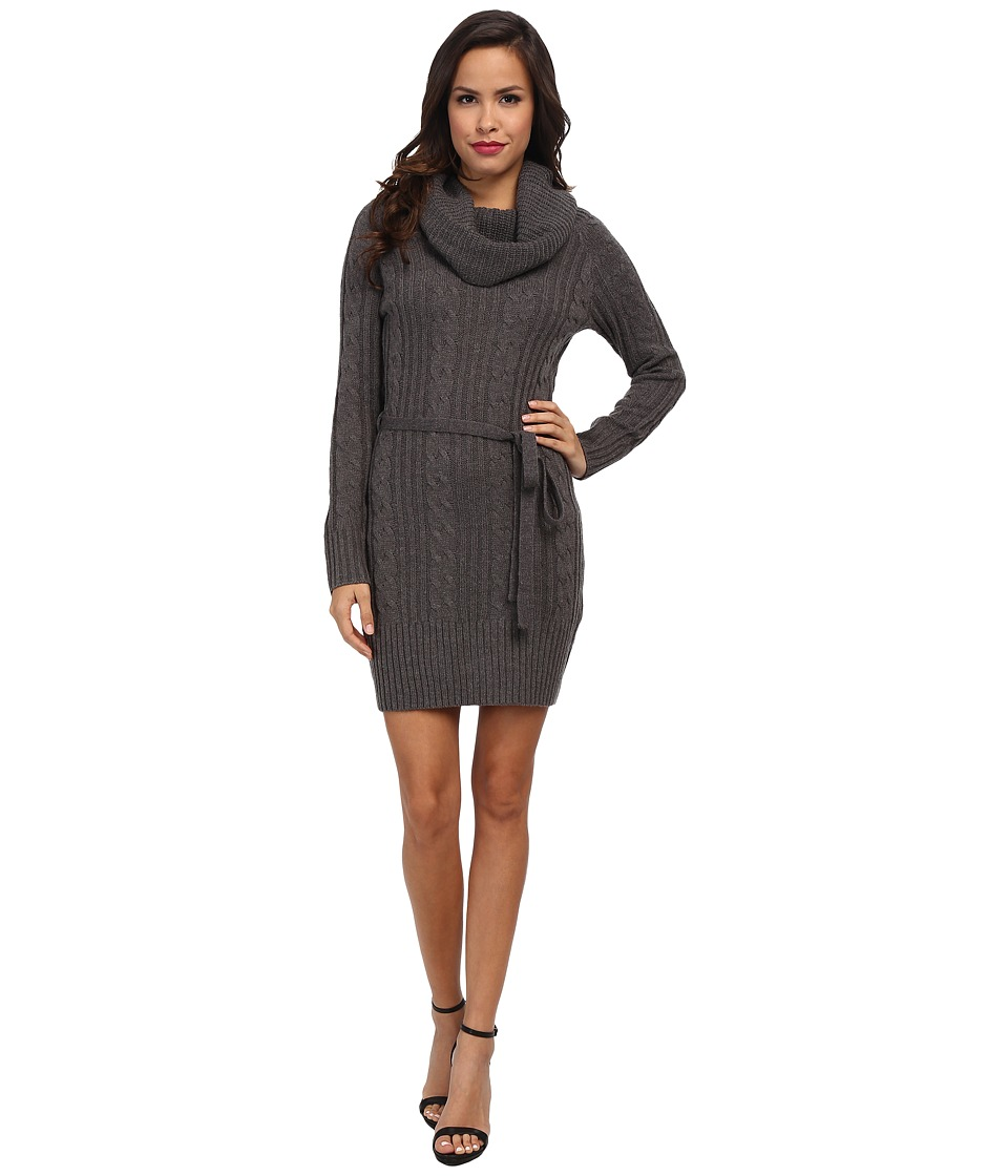 Jessica Simpson - Cowl Neck Sweater Dress (Charcoal) Women's Dress