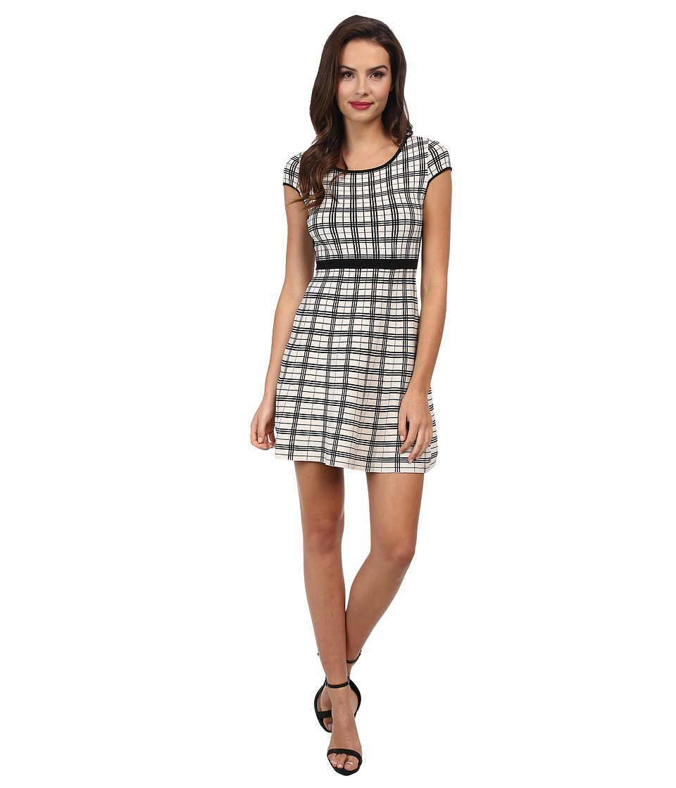 Jessica Simpson - Fit and Flare Knit (Black/Ivory) Women's Dress