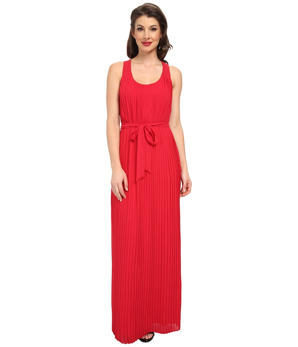 Jessica Simpson - Pleated Chiffon Maxi with Cross Back (Tango Red) Women