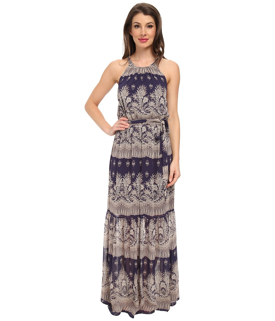Jessica Simpson - Chiffon Printed Maxi with Lazer Cut Back (Print) Women's Dress