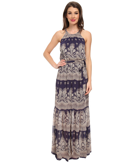 Jessica Simpson - Chiffon Printed Maxi with Lazer Cut Back (Print) Women