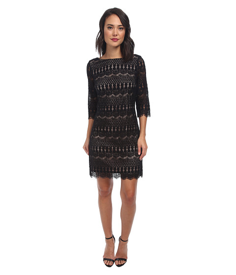 Jessica Howard - 3/4 Sleeve Shift Dress (Black/Tan) Women