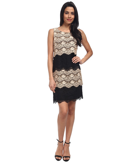 Jessica Simpson - Scallop Lace Tier Dress (Black/Gold) Women's Dress