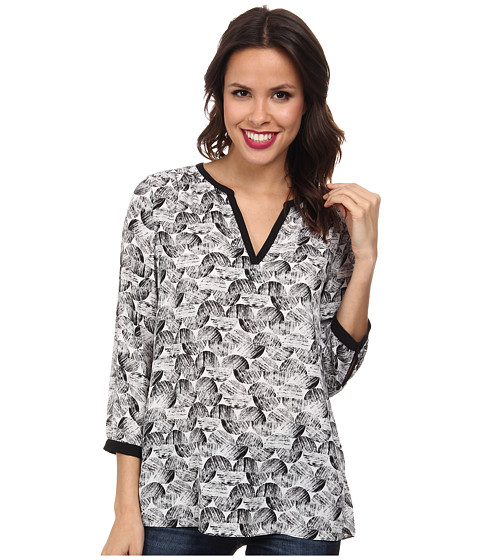 NYDJ - Graphic Ric Rac Printed Tunic (Black) Women's Blouse