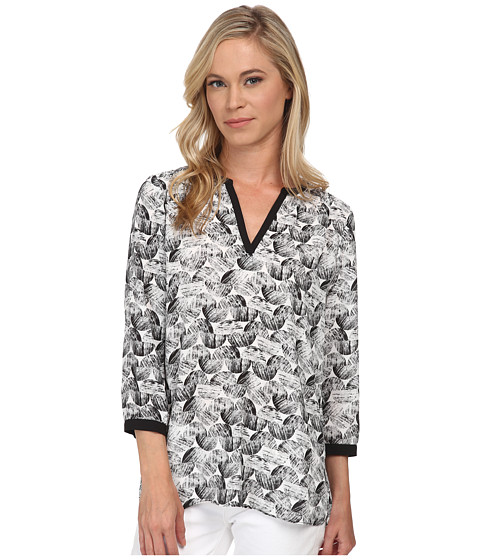 NYDJ Petite - Petite Graphic Ric Rac Printed Tunic (Black) Women's Blouse