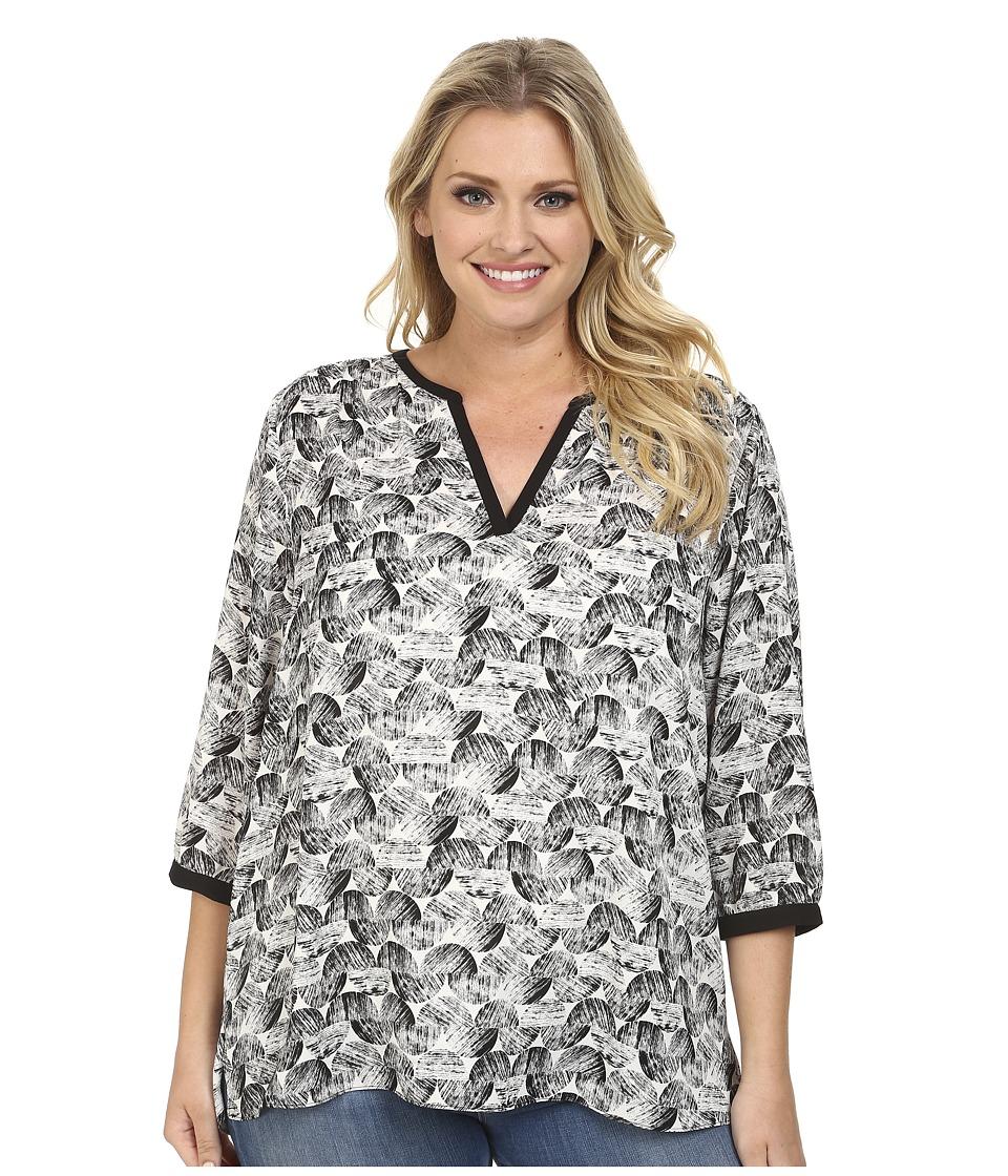 NYDJ Plus Size - Plus Size Graphic Ric Rac Printed Tunic (Black) Women's Blouse