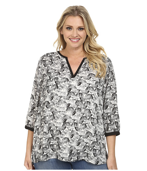 NYDJ Plus Size - Plus Size Graphic Ric Rac Printed Tunic (Black) Women